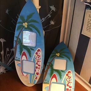Pair of BEACHY surfboard wood photo frames